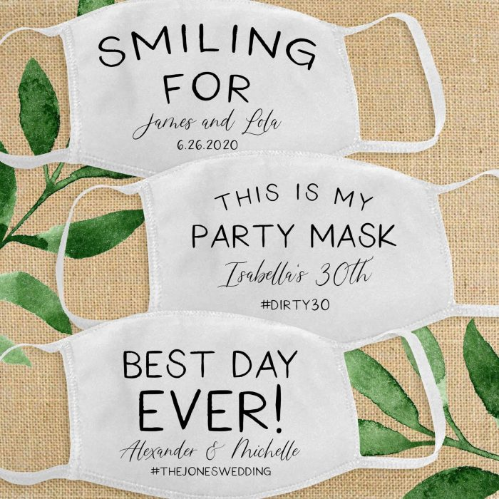 customized wedding masks with various inscriptions are lovely and fun, give them all to your guests