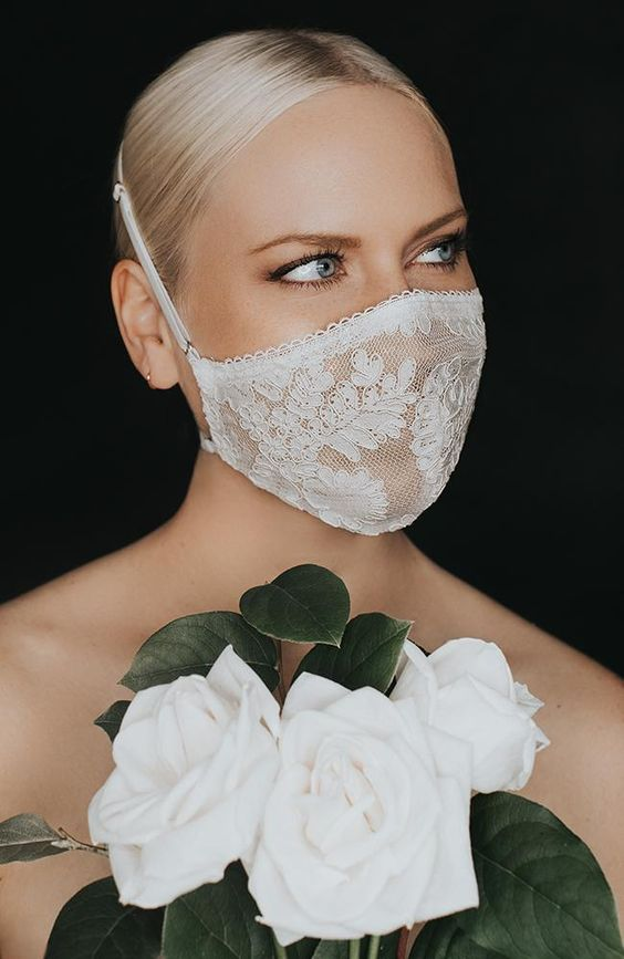 an elegant white lace mask will highlight any bridal look and make it fashion and keep the bride safe
