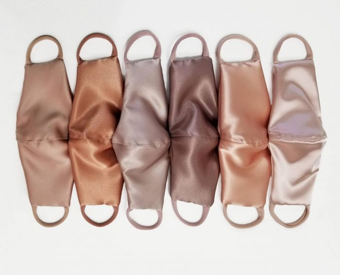 satin nude straight cut face masks will be lovely for bridesmaids and for brides, they are romantic
