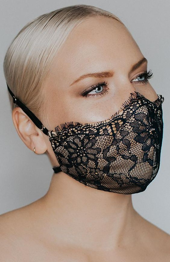 a nude and black lace face mask is a refined and chic option for a bride or bridesmaids