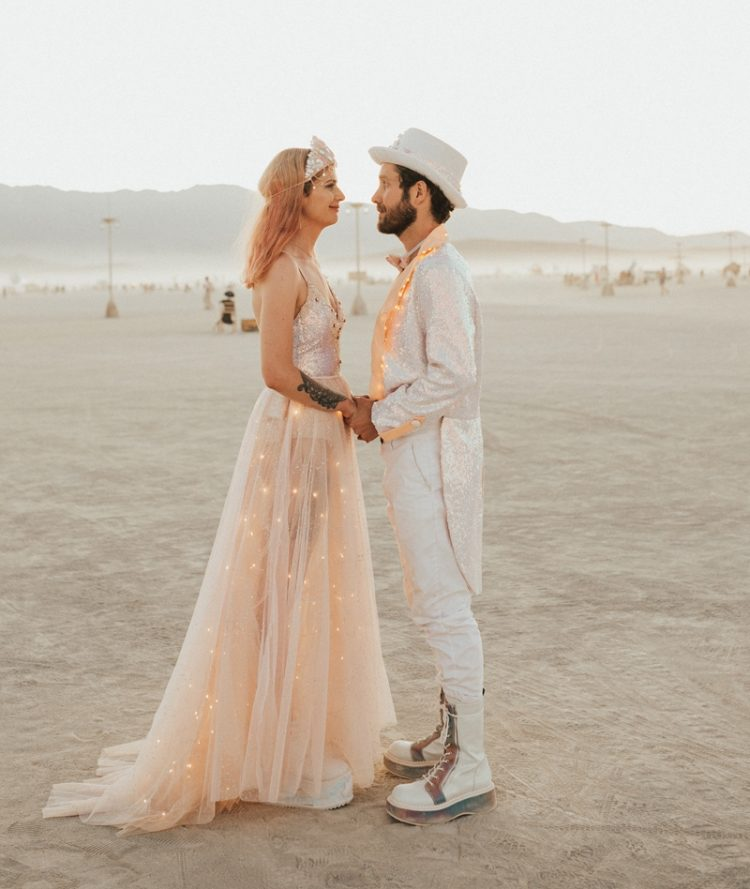 This couple went for a unique Burning Man wedding ceremony and a reception at home, in Melbourne