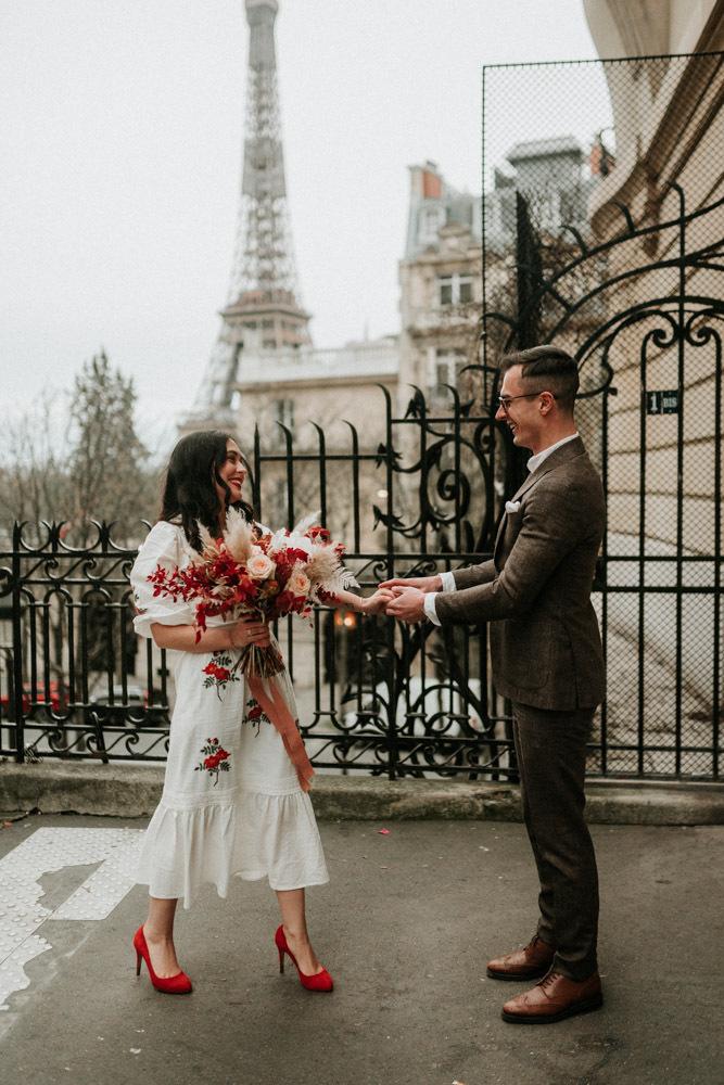 Paris Elopement With An Embroidered Wedding Dress