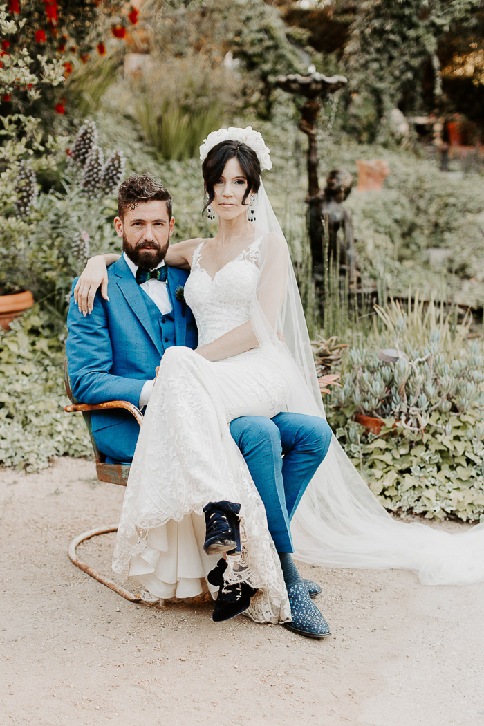 This lovely couple went for a glam peacock wedding in Topanga Canyon where they met