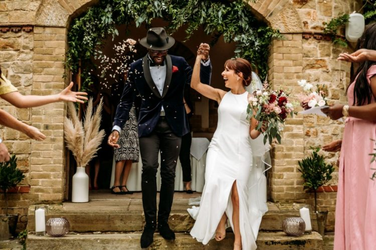 This minimalist wedding took place in West Sussex, at a 15th century Manor Hotel