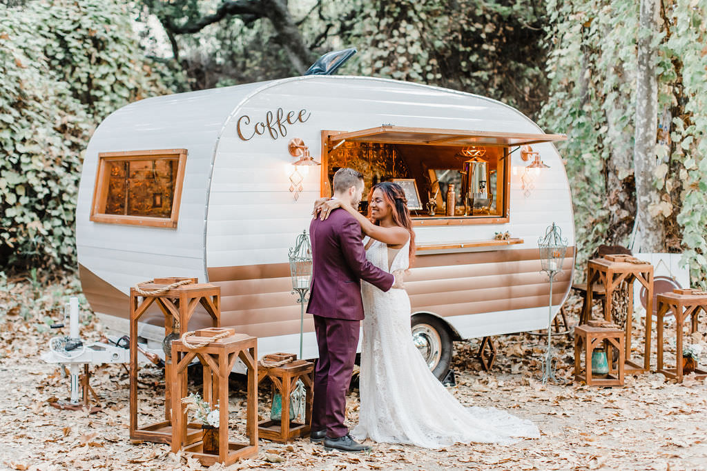 This wedding shoot took place in a forest in California and was inspired by all things boho and the 70s