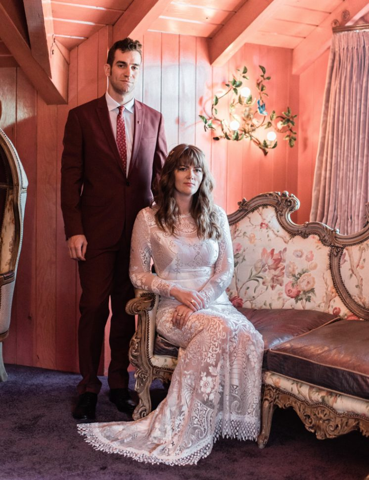 This wedding took place at a whimsical hotel in California and was kitsch and pink