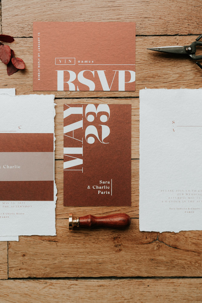 The wedding stationery was done in rust and white and with modern printing