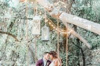 03 What a lovely swing with lights and candle lanterns