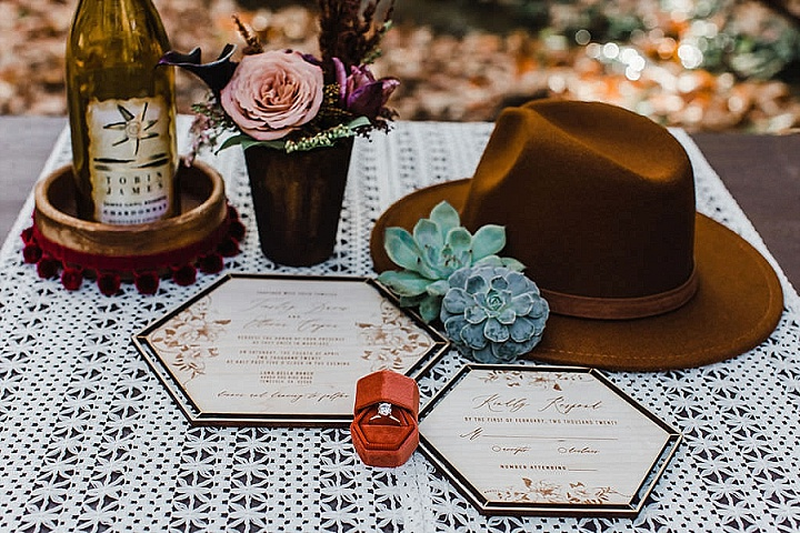 The wedding stationery was done with plywood and elegant lettering