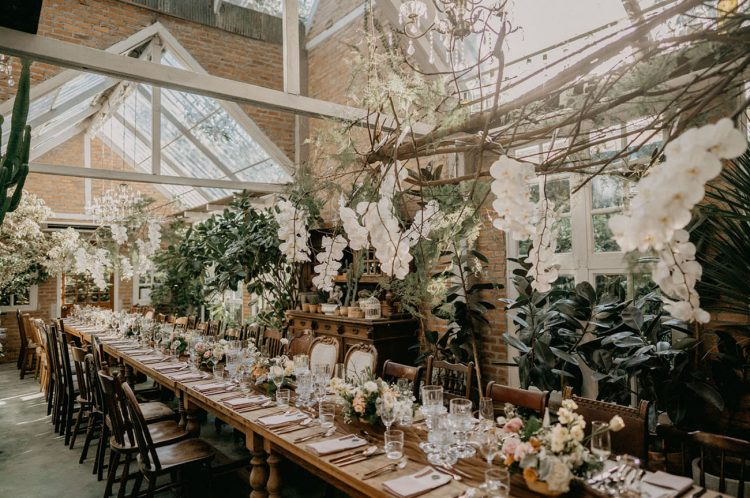 The venue was adorable, filled with natural light, white orchids, greenery, vintage furniture and neutral and pastel blooms on the table