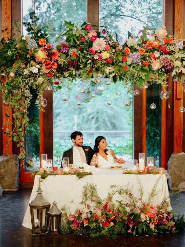 a lovely sweetheart table decor