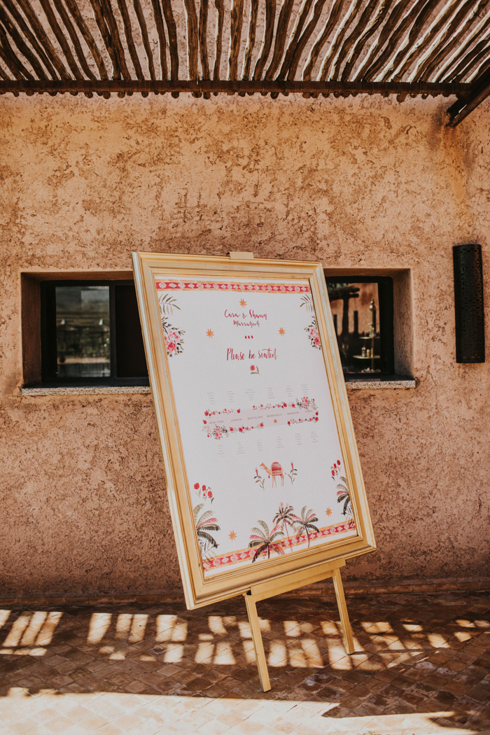 a cool wedding signage in bright colors