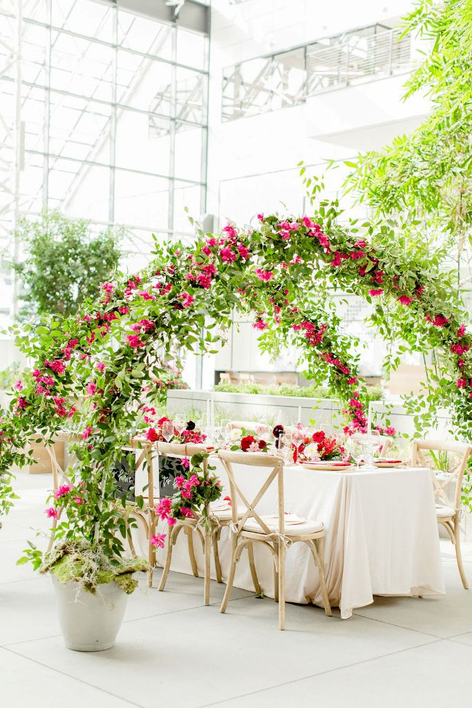 a non-traditional way to use wedding arches