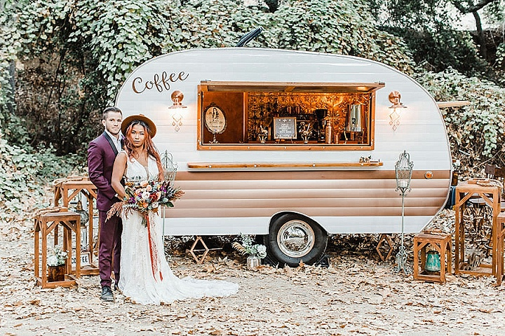 There was a small coffee bar surrounded with candles that added a 70s feel to the wedding