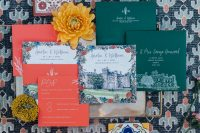 09 This invitation suite includes orange, hunter green and floral cards and azulejo tiles