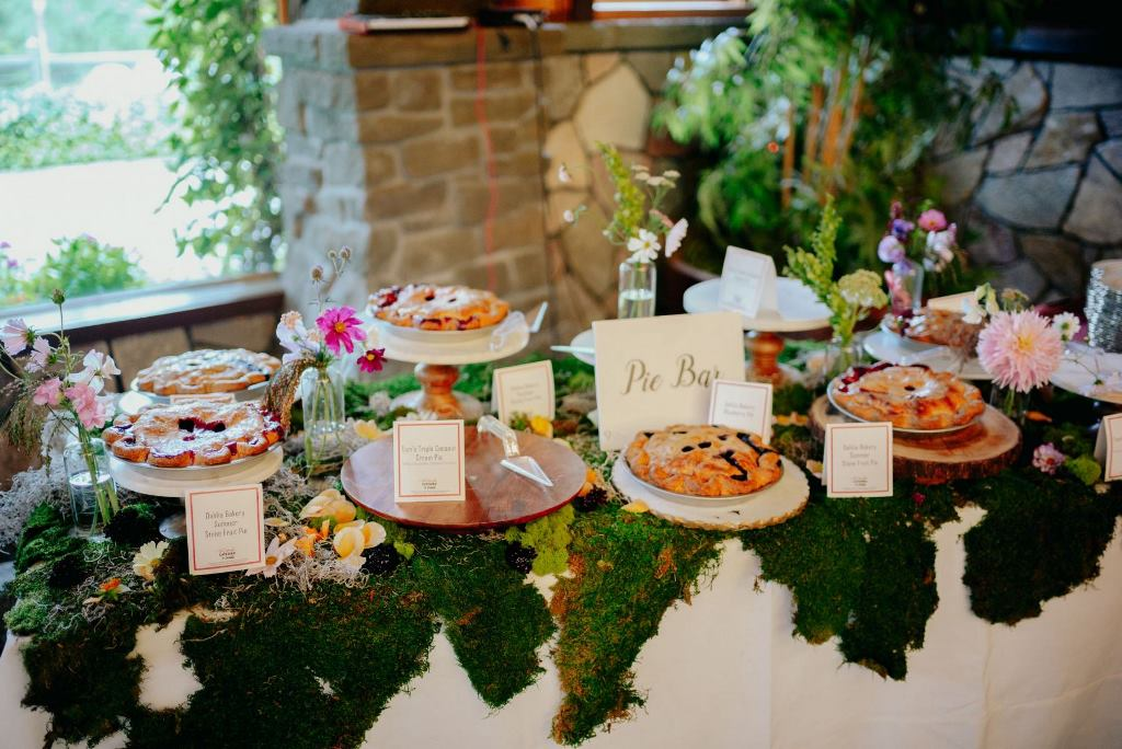 There was no wedding cake but the couple chose a pie bar to please everyone