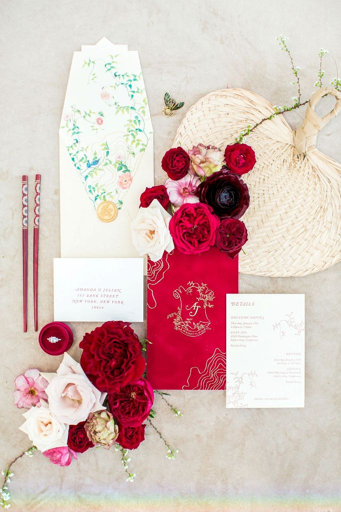 The wedding stationery was done bright, with traditional motifs