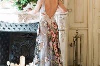 a stylish silver wedding dress