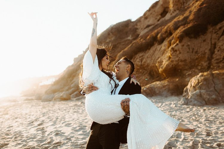 This couple decided to elope after their actual wedding was canceled by the venue and they chose Malibu beaches for that
