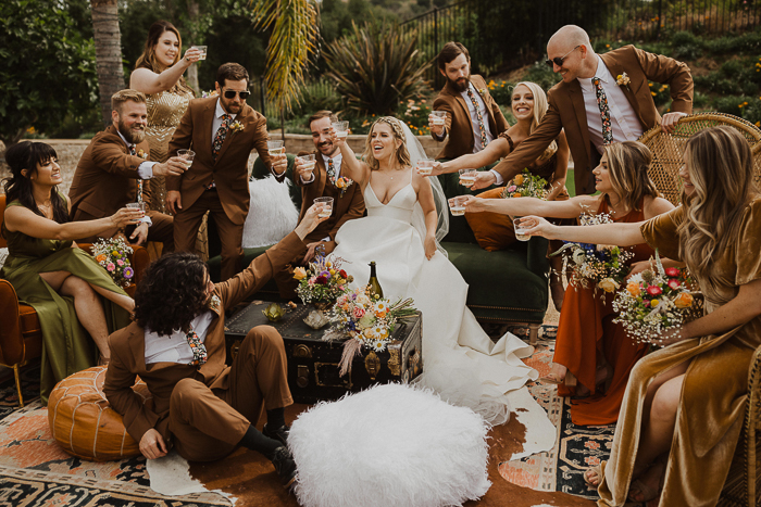 Funky 70s Inspired Wedding With A Rust Color Palette
