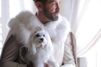02 Both grooms were wearing white and gold, luxurious crowns and their dogs were dressed, too