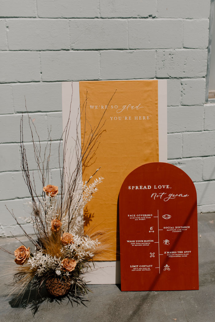 Bright signage with cool printing was used for the wedding shoot