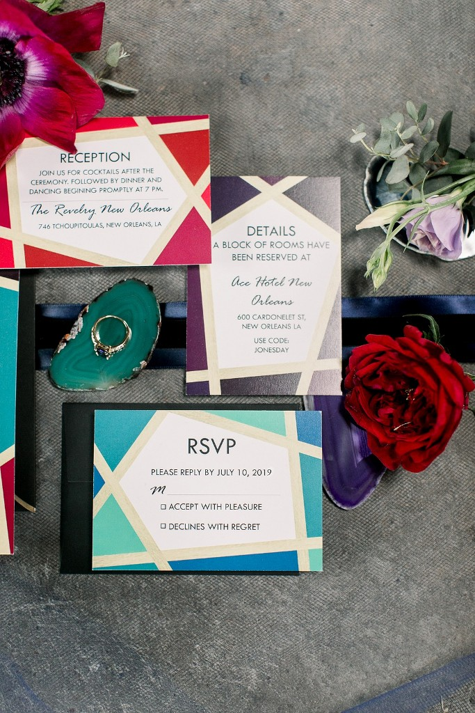 The wedding stationery was bright and with geometric tones