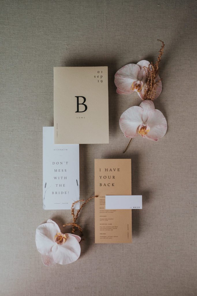 The wedding stationery was done in neutrals and with modern printing