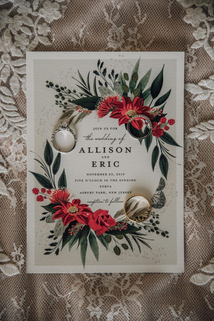 The wedding stationery was done with greenery and bright floral prints