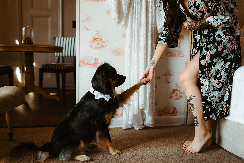 The couple's dog took part in the wedding, too, it was taken with them