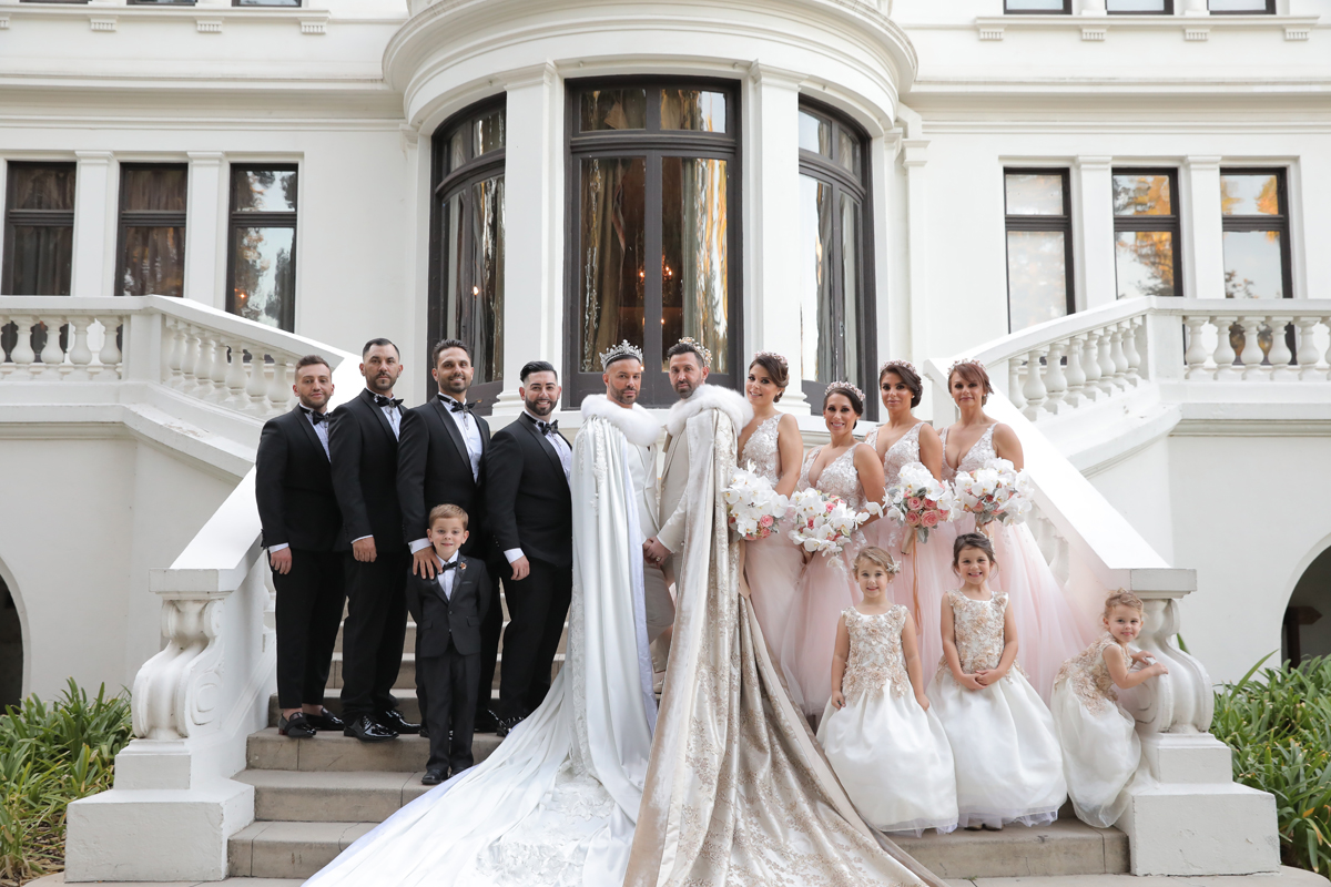 The bridesmaids were wearing blush embellished dresses, the groomsmen were wearing black tuxes