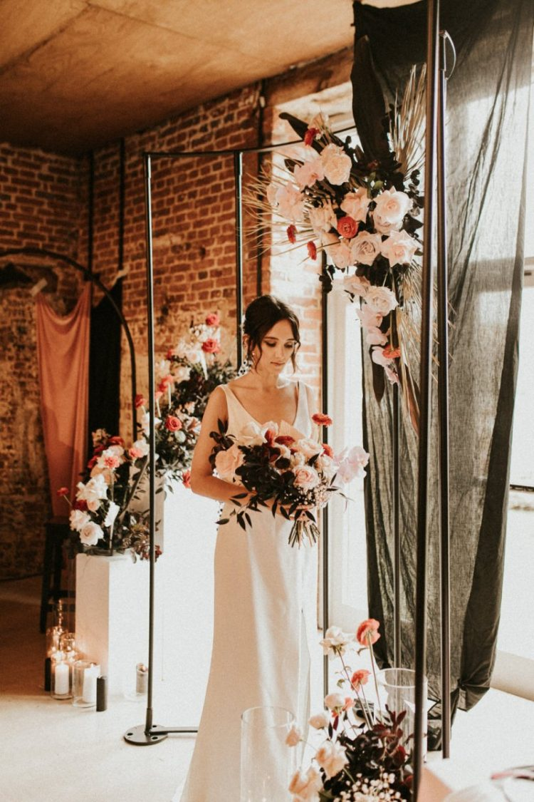 The third look with a minimalist white wedding dress