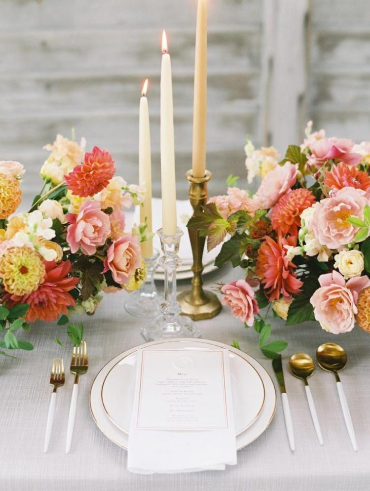 The wedding tablescape was refined and bright, the neutral linens were compensated with super bright florals