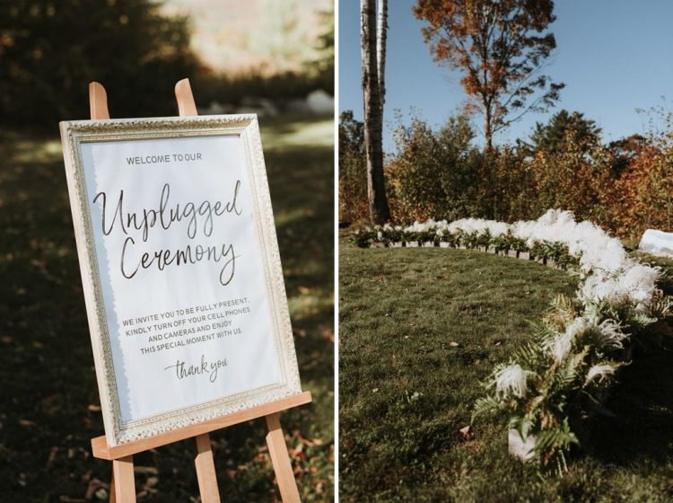 There was a beautiful white grass and greenery circular wedding altar