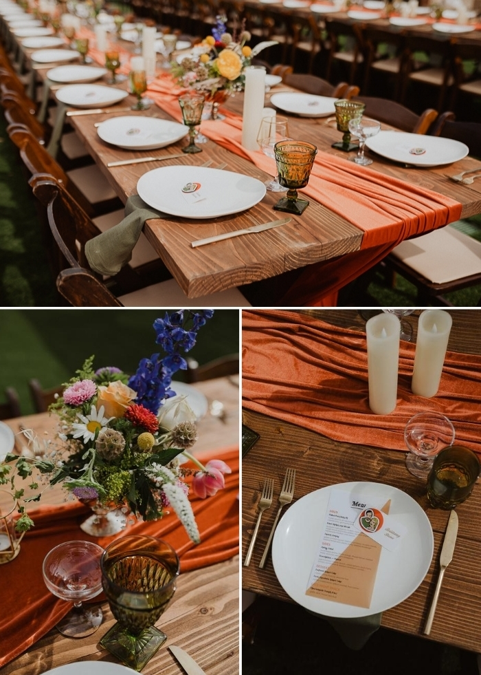 The uncovered tables were done with orange table runners and green napkins, bright blooms and green glasses