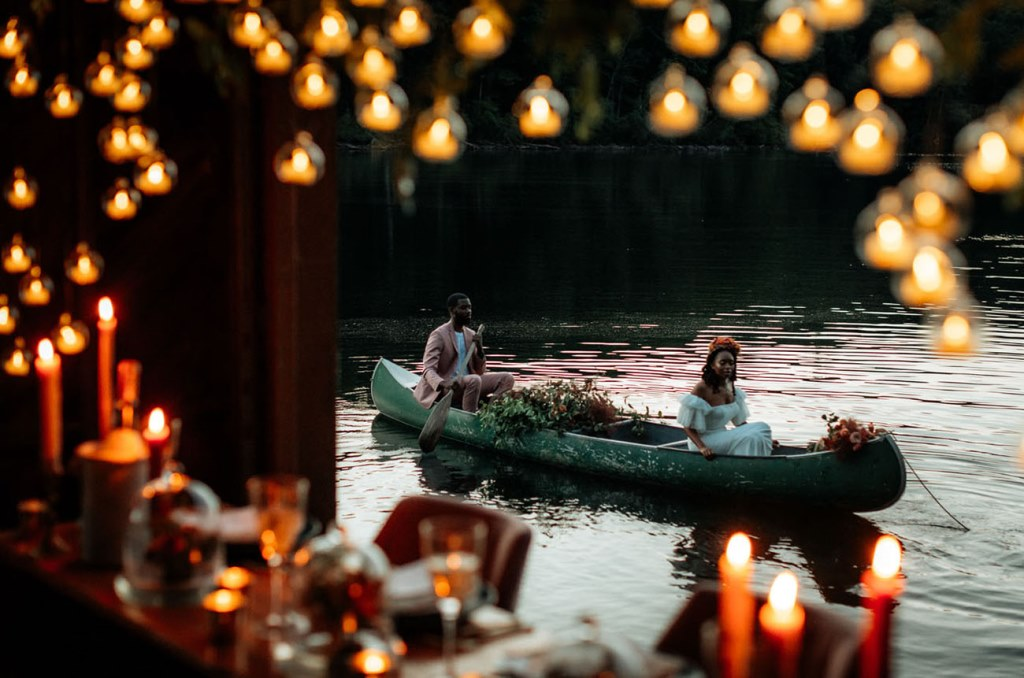 The couple went for a boat ride after the reception