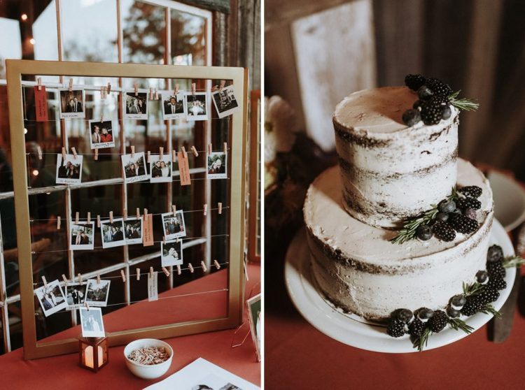 The wedding cake was a naked one adorned with berries