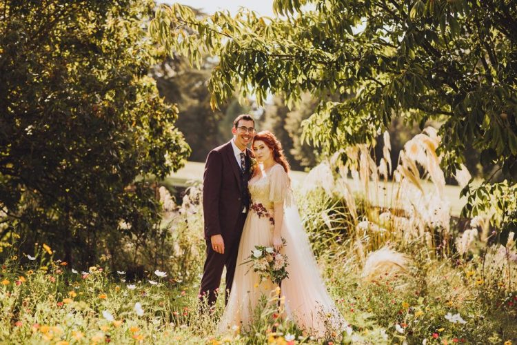 Beautiful fall gardens of the abbey became an amazing backdrop for the wedding portraits