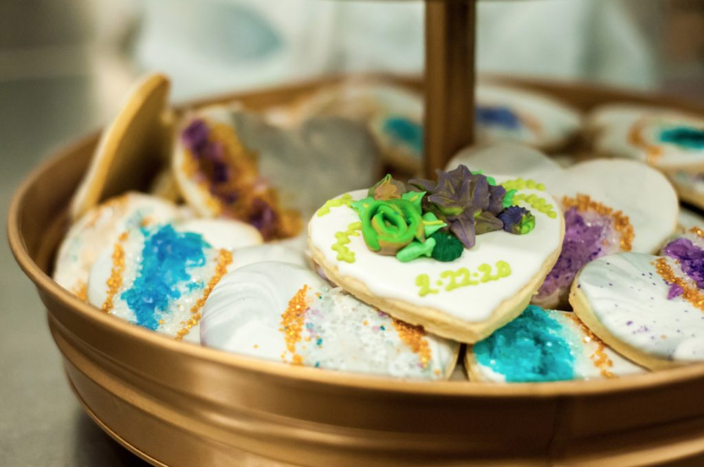 Picture Of Crystal And Succulent Cookies Were A Nice Idea For The Wedding No Wedding Cake