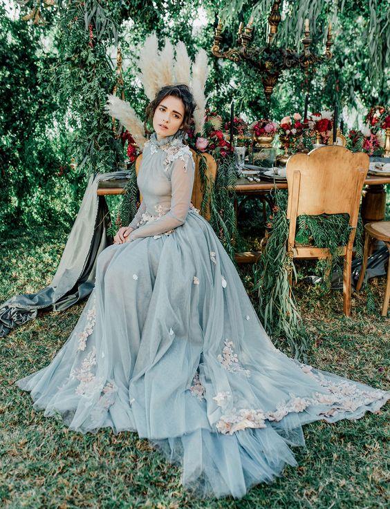 a lovely powder blue wedding dress