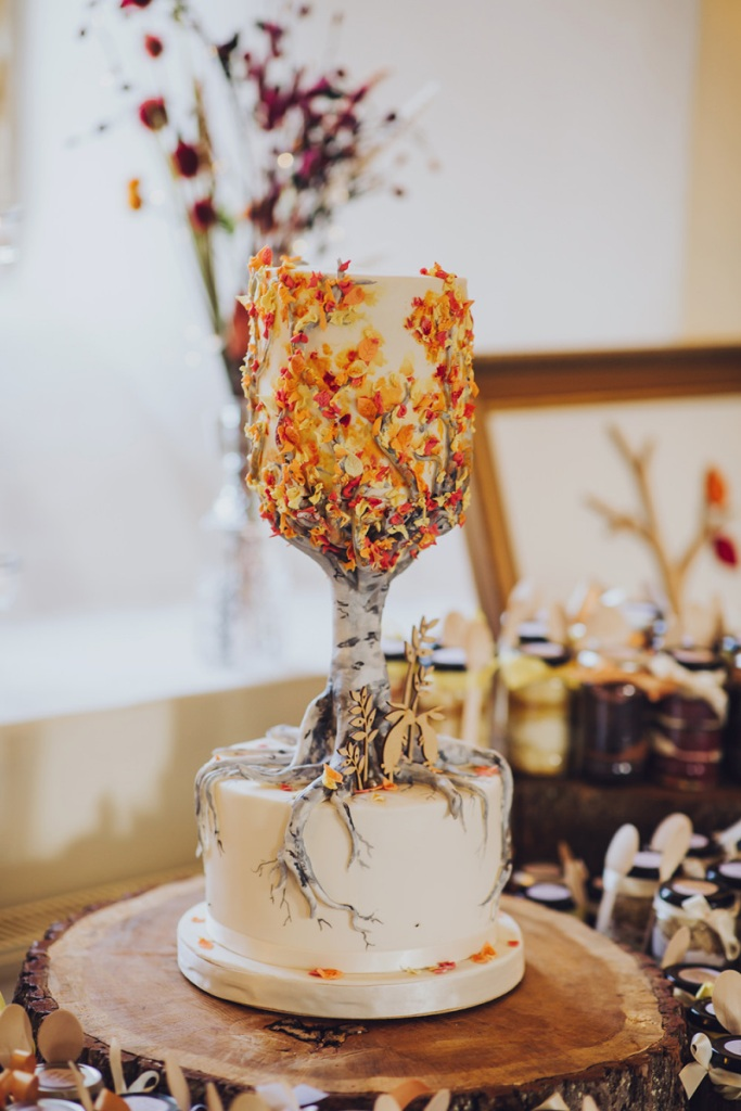 The wedding cake was a very whimsical one, with bright blooms of sugar