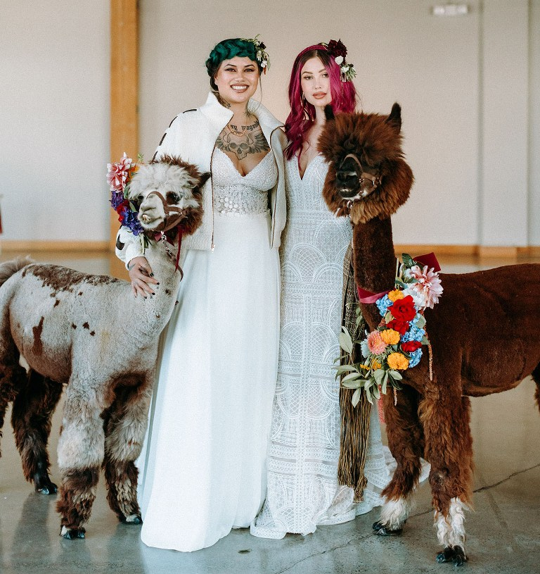 This vibrant wedding shoot was inspried by Hispanic culture and bold Gothic like bridal looks