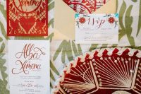 02 This colorful wedding invitation suite was created right for the shoot, with bold prints and calligraphy