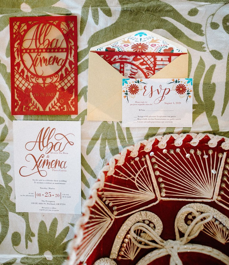 This colorful wedding invitation suite was created right for the shoot, with bold prints and calligraphy