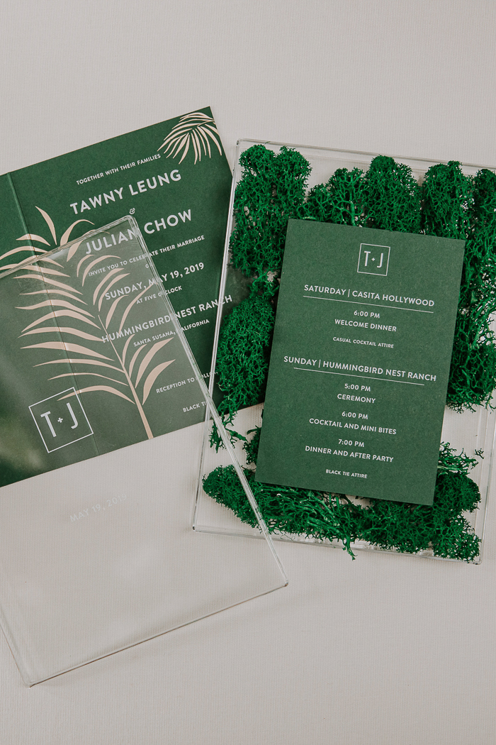 I love the wedding invitation suite in green, with moss and glass and tropical prints