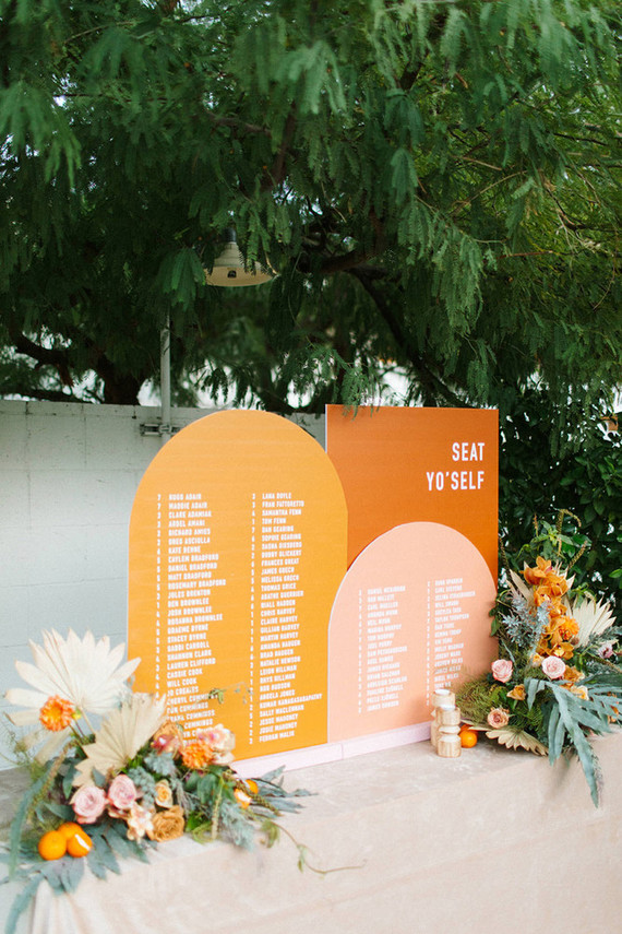 The wedding stationery was very bright and stylish, decorated with bold blooms and greenery