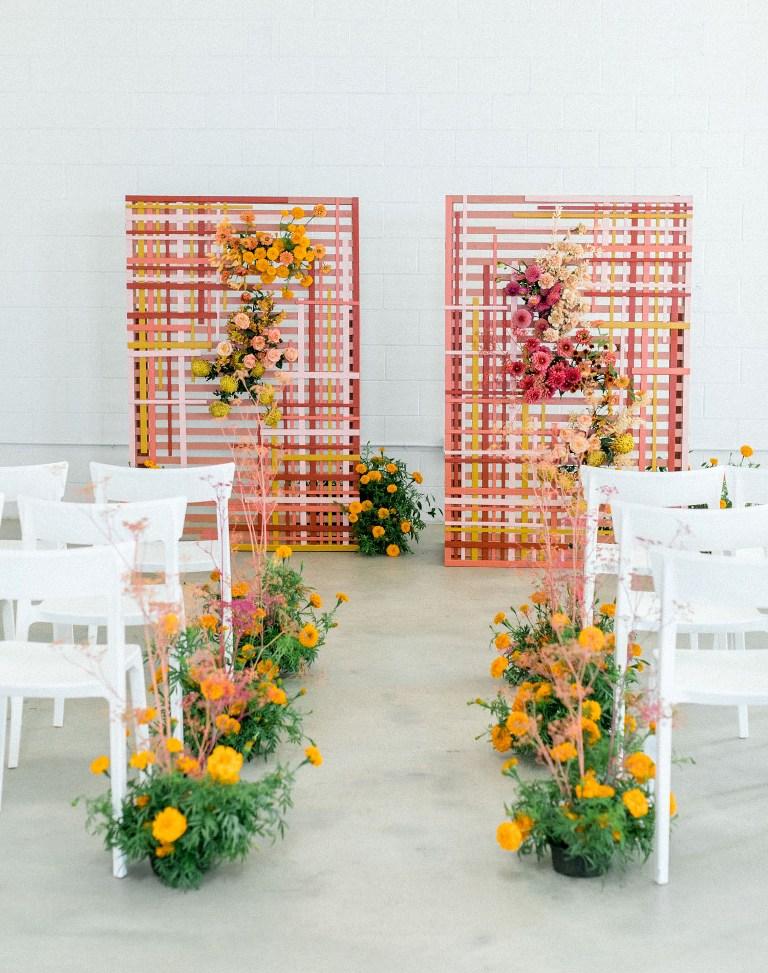 a gorgeous colorful wedding backdrop