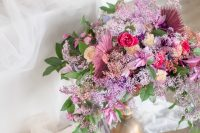 06 Enjoy the look of super bold florals with lots of colorful dried elements and greenery