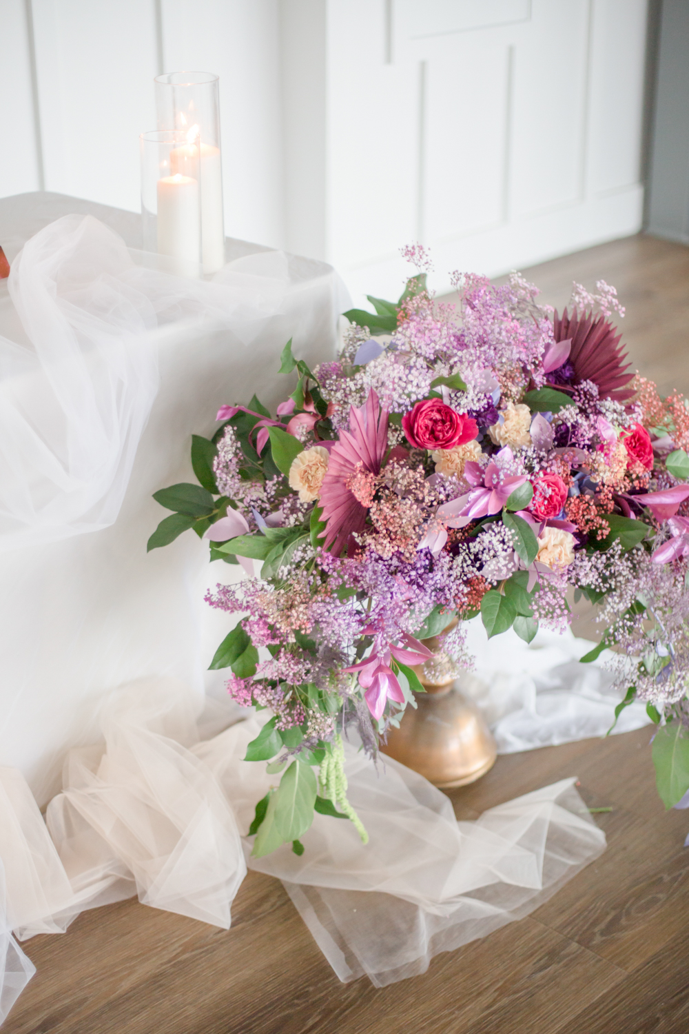 Enjoy the look of super bold florals with lots of colorful dried elements and greenery
