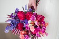 08 The wedding bouquet was super bright, with bold blooms and bright dried elements